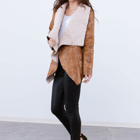A Sherpa Thing Drape Front Vest