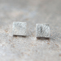 Silver Textured Square earrings