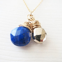 Lapis Pyrite Gold Filled Stone Necklace Tear Drop Briolette Rough Neutral Stone Urban Blue Bronze Polestar