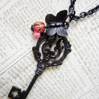 Steampunk  Butterfly Key Necklace - Victorian Antique Brass Mourning Pendant