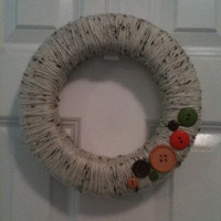 SALE Yarn & Button Wreath