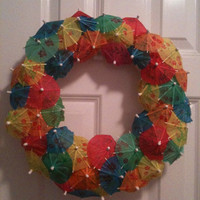 SALE Parasol Umbrella Festive Summer Wreath