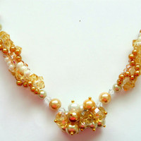 Necklace Spiral Beaded in Champagne Colored Beads and Pearls