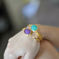 ONE everyday jewelry simple drop aqua green or purple faceted jade stone gemstone bracelet gold leather cord israel