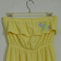 Yellow Romper / Vintage 80s Bathing Suit Cover Terry Cloth High Waisted with Ruffle and Embroidered Fish Pastel Purple and Green Size Small