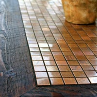 "Coffee Table, Metal Mosaic, Reclaimed Wood, Rustic Contemporary, ""Copper Sunset"", Dark Brown Wax Finish - Handmade"
