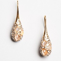 Crystal Encrusted Gold Small Moonstone Teardrop Earrings - Earrings - Jewelry - Shop by Category