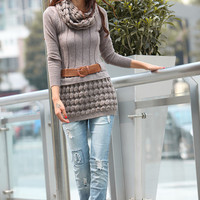 FREE SHIPPING Deep Kahki Long Sleeve Sweater Dress With Neck Warmers - NC191