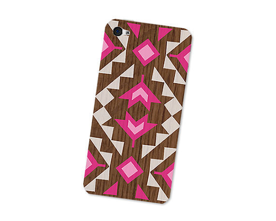 Neon Geometric Pink iPhone 4S Skin: iPhone 4 Skin Decal - Cell Phone Southwest Triangle Tribal in Pink Wood and White Boho iPhone Skin