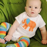 Elephant Onesuit - Boys clothes- Baby Clothes - Applique Onesuit - Elephant shirt