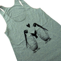 Penguin Love Tank Top - American Apparel Tri-Blend Tank - Available in sizes S, M, L