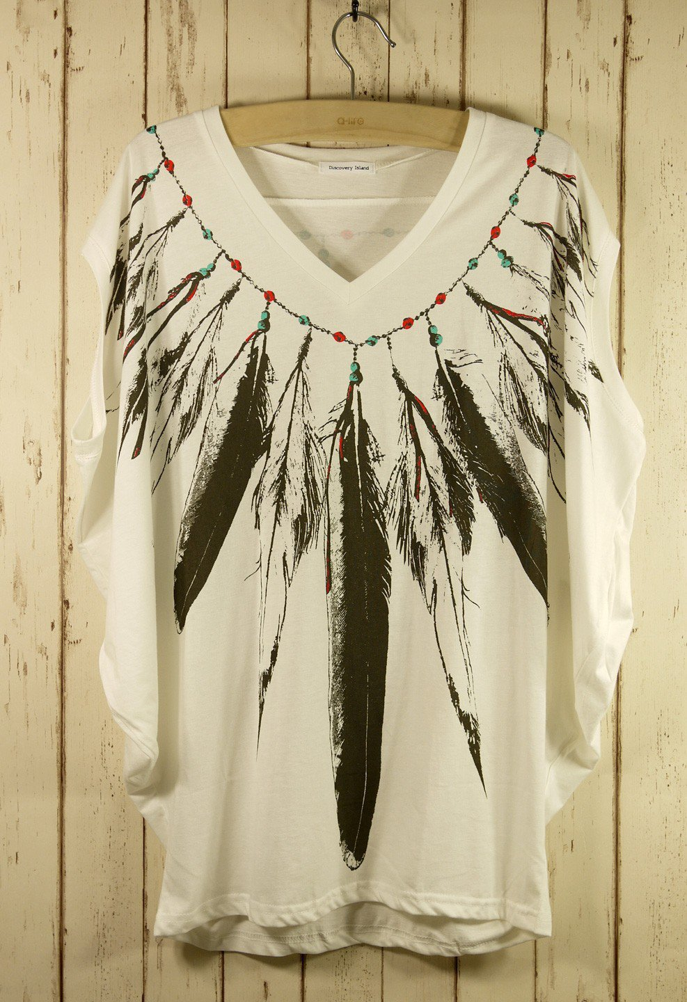 Sleeveless Indian Feather Print Tee