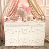 Bella Wreath 6 Drawer Horizontal File Cabinet