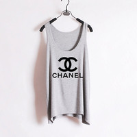 Classic Chanel - Women Tank Top - Grey - Sides Straight