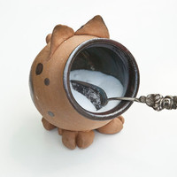 IN STOCK Ceramic Salt Pig Brown Red Black