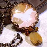 Picture Necklace - Pink Brown &amp; Yellow Butterfly Necklace - Glass Picture Pendant Charm Necklace Neo Victorian Gothic Vintage Style