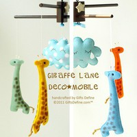 GIRAFFE LANE Deco Mobile now with handpainted by giftsdefine