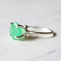 Chrysoprase ring, sterling silver, mint, seafoam, green, cocktail ring, summer  - The Bliss Ring
