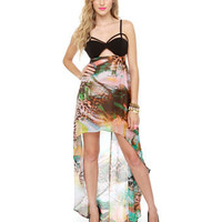 Sexy High-Low Dress - Print Dress - Bustier Dress - $50.00