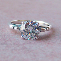 8mm Cubic Zirconia Sterling Silver Ring, Cavalier Creations