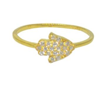 Gold Plated Hamsa CZ Ring