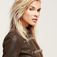 Free People Military Brown Vegan Jacket