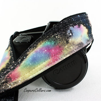307 Galaxy Camera Strap, Hand painted, One of a Kind, dSLR or SLR, Cosmos, Nebula, OOAK w