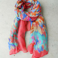 Mottled Coral Rainbow Scarf [4977] - $12.80 : Vintage Inspired Clothing & Affordable Dresses, deloom | Modern. Vintage. Crafted.