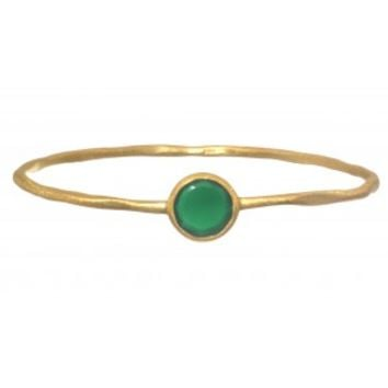 Gold Plated Bangle with Green Ropada Stone