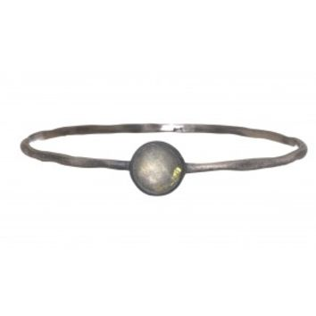 Silver Bangle with Labradorite Stone