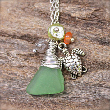 Sea Turtle Jewelry - Sea Glass Necklace - Sea Glass Jewelry from Hawaii - Hawaiian Honu Jewelry - Sea Turtle Necklace - Seaglass Necklace