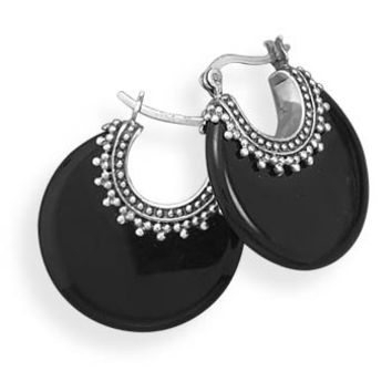 Onyx Bali Sterling Silver Earrings