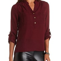 DOUBLE POCKET BUTTON-UP CHIFFON TOP