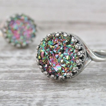 Sterling Silver Druzy Ring, Rainbow Druzy, Rainbow Color Rings, Adjustable Rings, Round Multiple Colored Ring, Druzy Jewelry