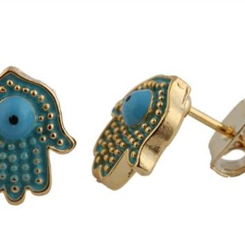2 Pairs of Gold with Light Blue Spotted Hamsa & Evil Eye Stud Earrings