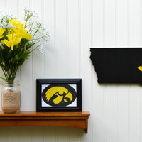 """Iowa Hawkeyes """"State Heart"""" wall art, handcrafted wood with official team colors"""
