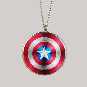 SALE----The Avengers America captain shield pendant ,Inspired Mockingjay Necklace- silver-Color epoxy style