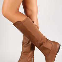 Qupid Neo-154X Mixed Media Knee High Boot