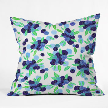 Lisa Argyropoulos Blueberries And Dots On White Throw Pillow