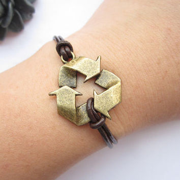 symbol Bracelet---antique bronze green seal pendant&brown leather chain