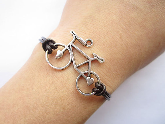 Bracelet---antique silver 3d love bike&amp;brown leather chain