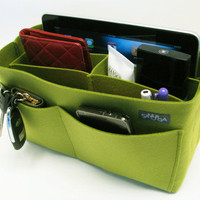M3. Yellow green  felt bag organizer - medium size (W 11in H 6.3in D 4in), also for a school / baby bag, desk, car &amp; etc.