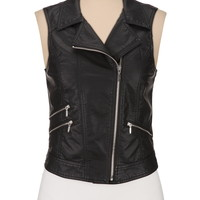 asymmetrical zip faux leather vest