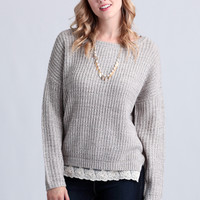 London Fog Lace Accent Sweater