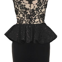 Front Row Dress | Black Taupe Lace Peplum Party Dresses | RicketyRack.com