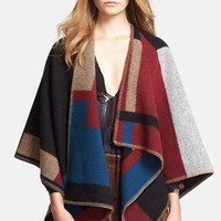 Burberry Prorsum Colorblock Wool Blanket Cape