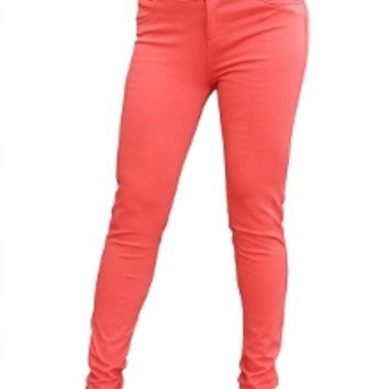 High Waist Button Front Skinny Pants