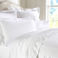 LINEN WITH SILK TRIM DUVET COVER & SHAM