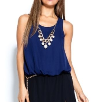Navy Hi-Low Chiffon Top & Necklace