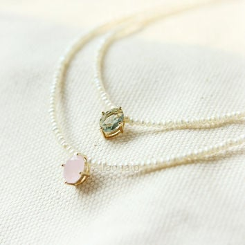 Faceted Bead and tiny Pearls Necklace / choose your color, pink and